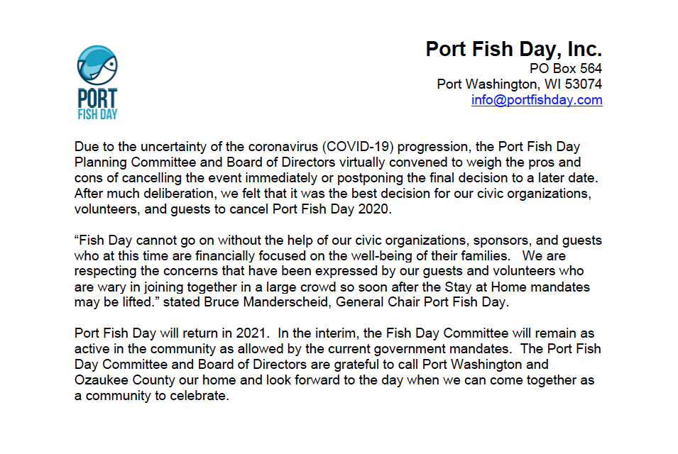 Port Fish Day 202 Cancelled
